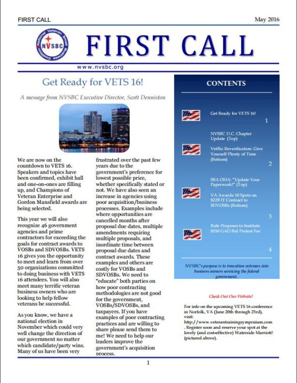 First Call May 2016