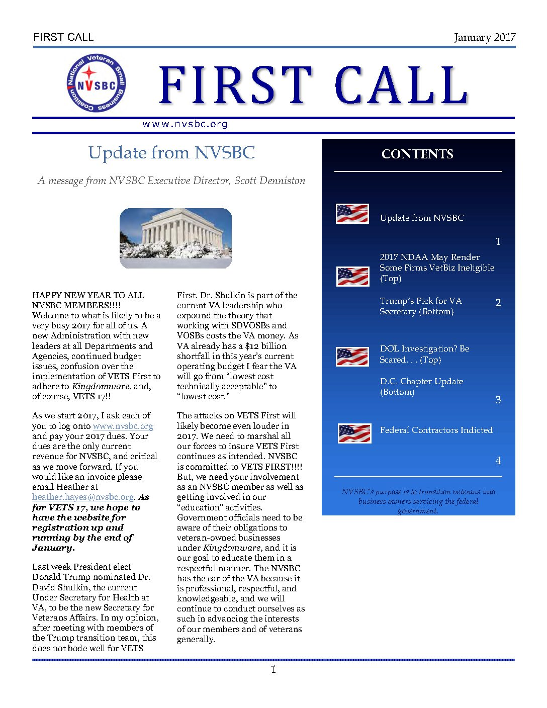 First Call January 2017
