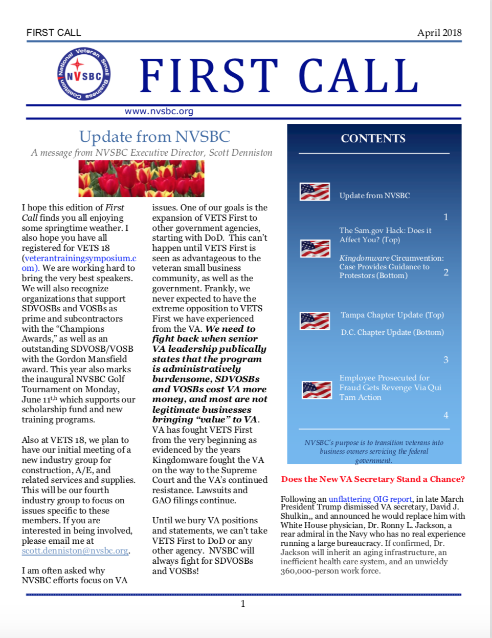 First Call – April 2018