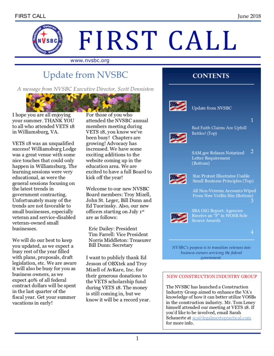 First Call – June 2018