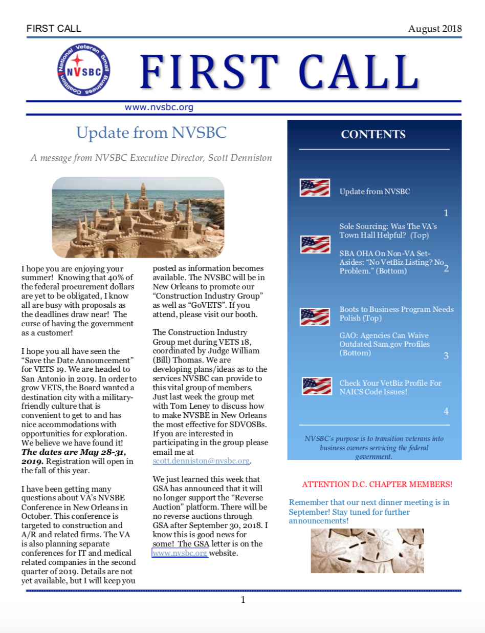 First Call – August 2018