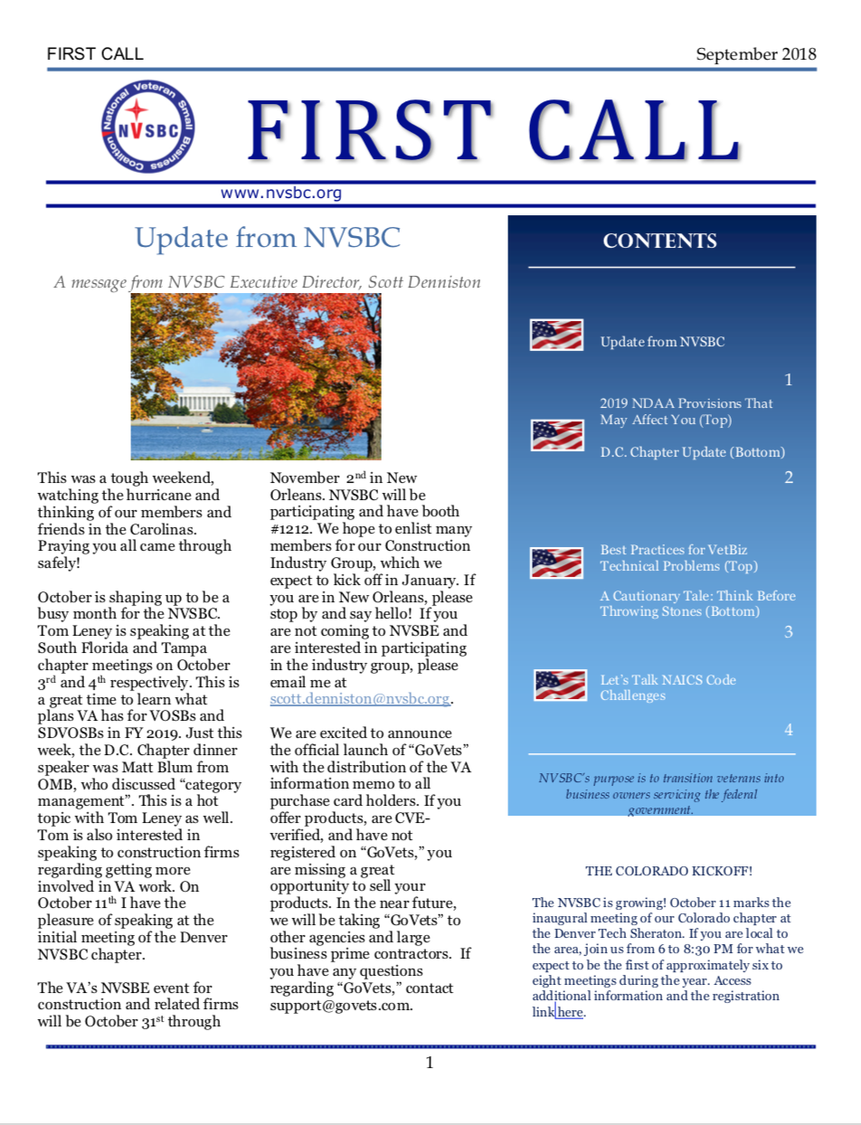 First Call – September 2018