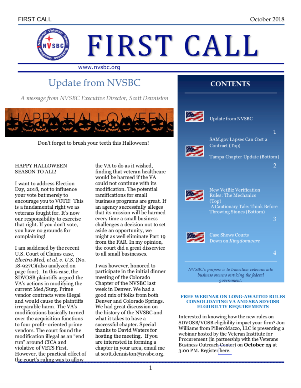 First Call – October 2018