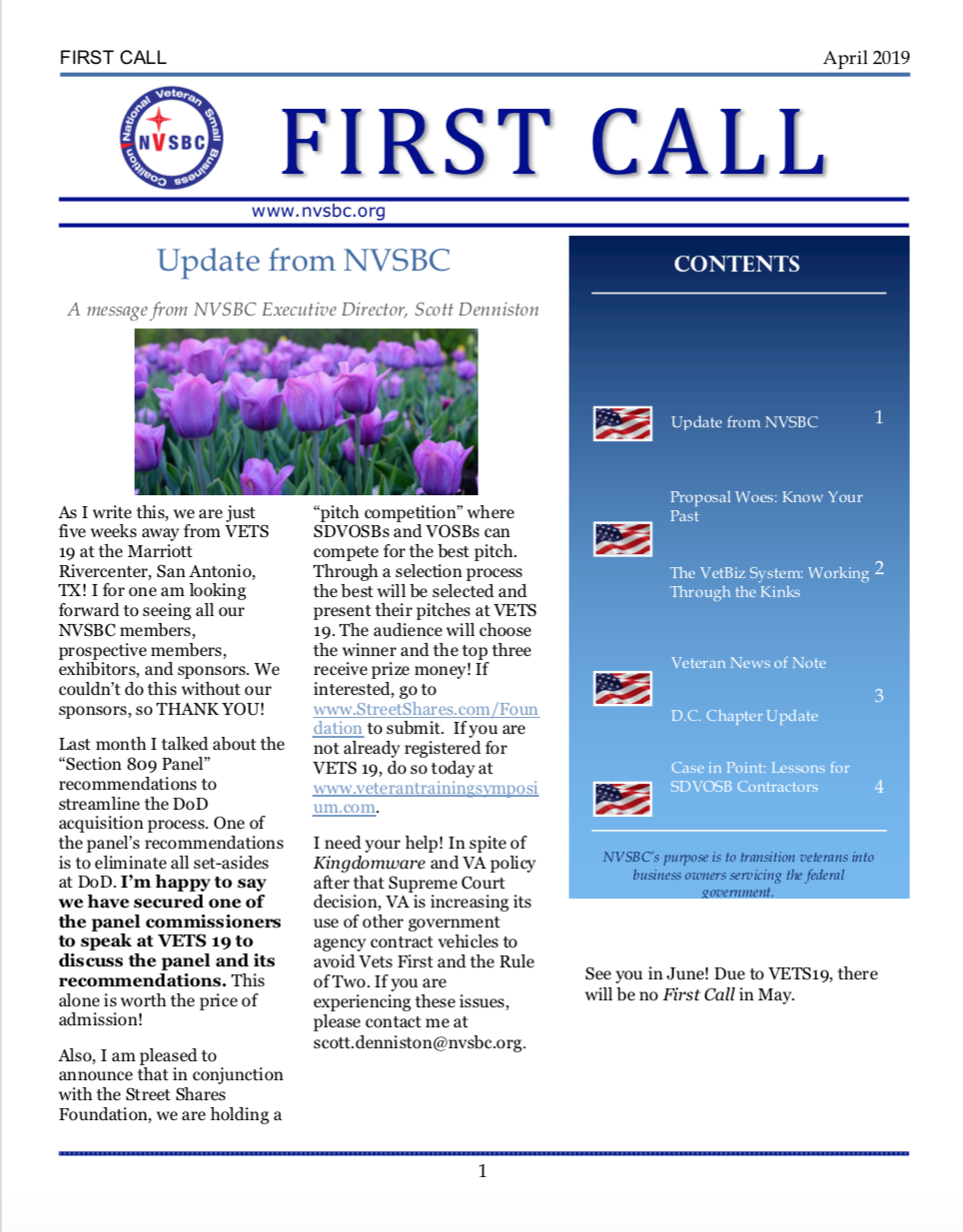 First Call – April 2019