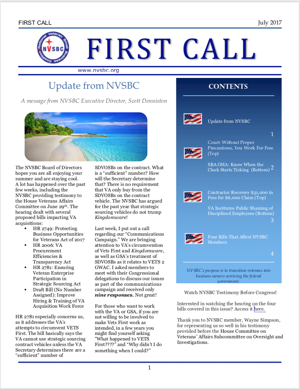 First Call – July 2017