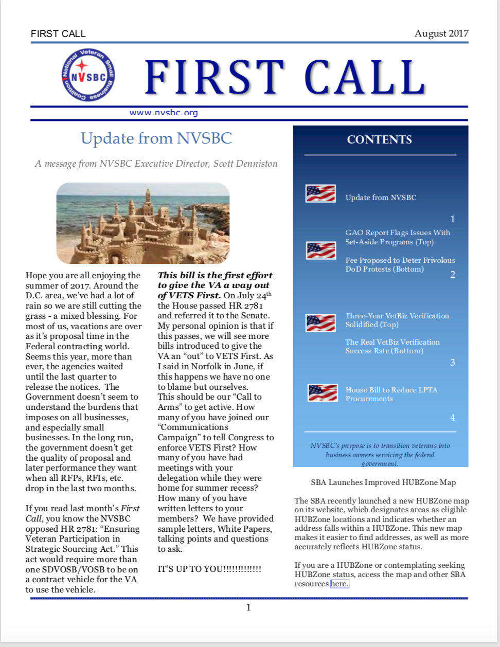 First Call – August 2017