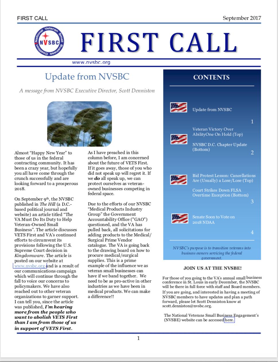 First Call – September 2017