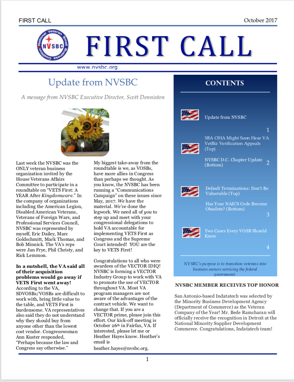First Call – October 2017