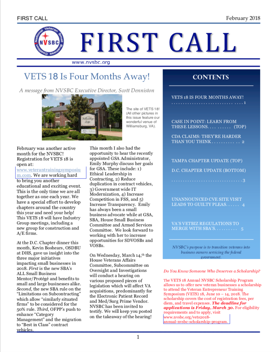 First Call – February 2018