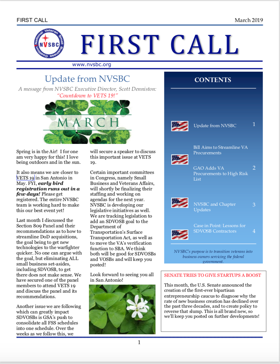 First Call – March 2019