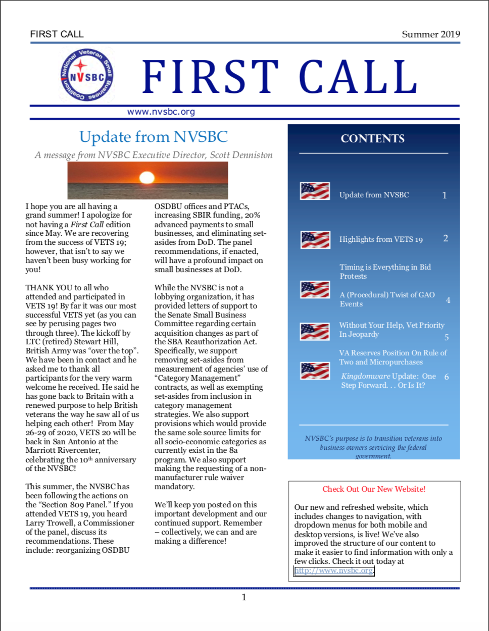 First Call – Summer 2019