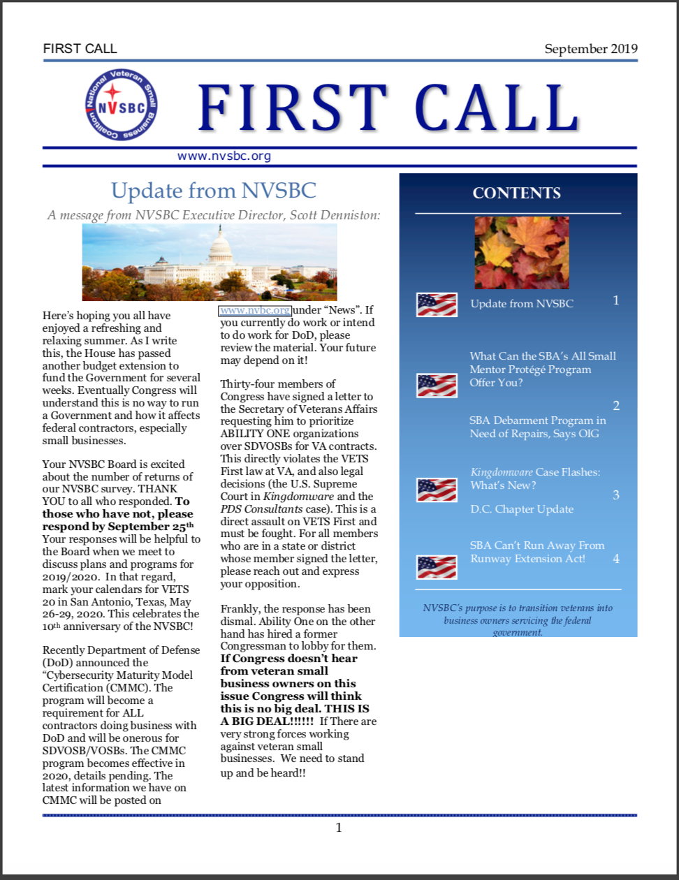 First Call – September 2019
