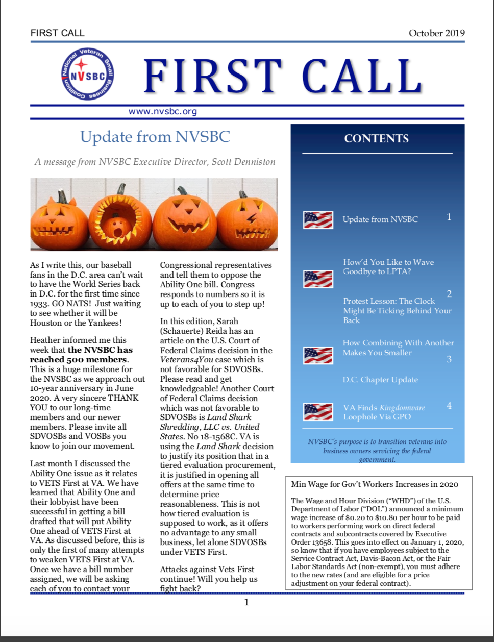 First Call – October 2019