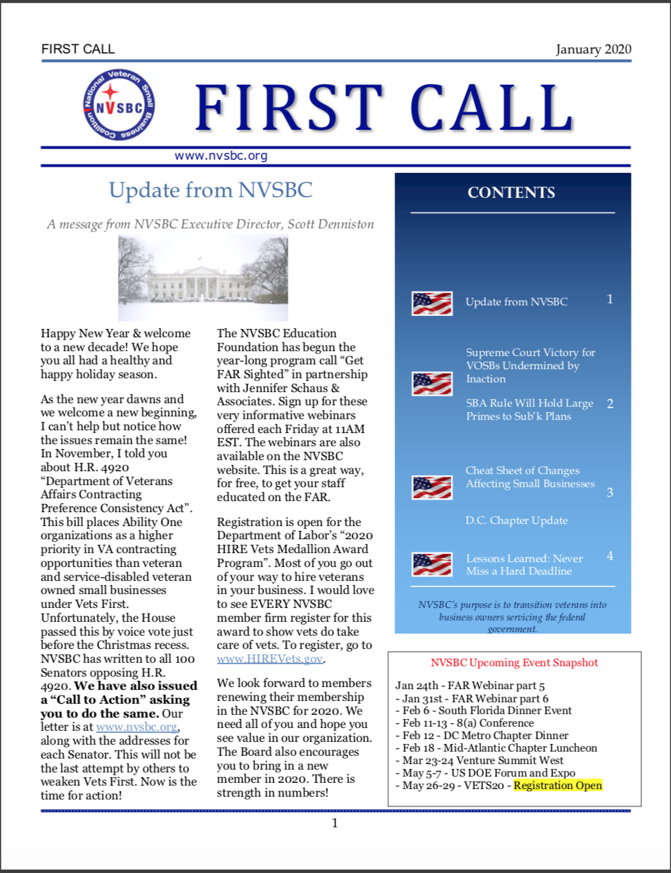 First Call – January 2020
