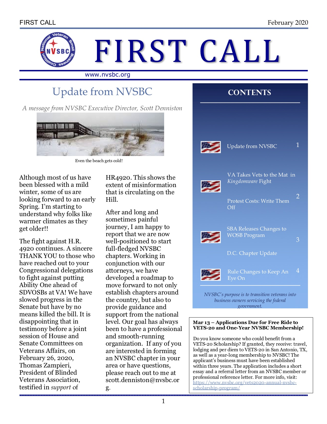 First Call – February 2020