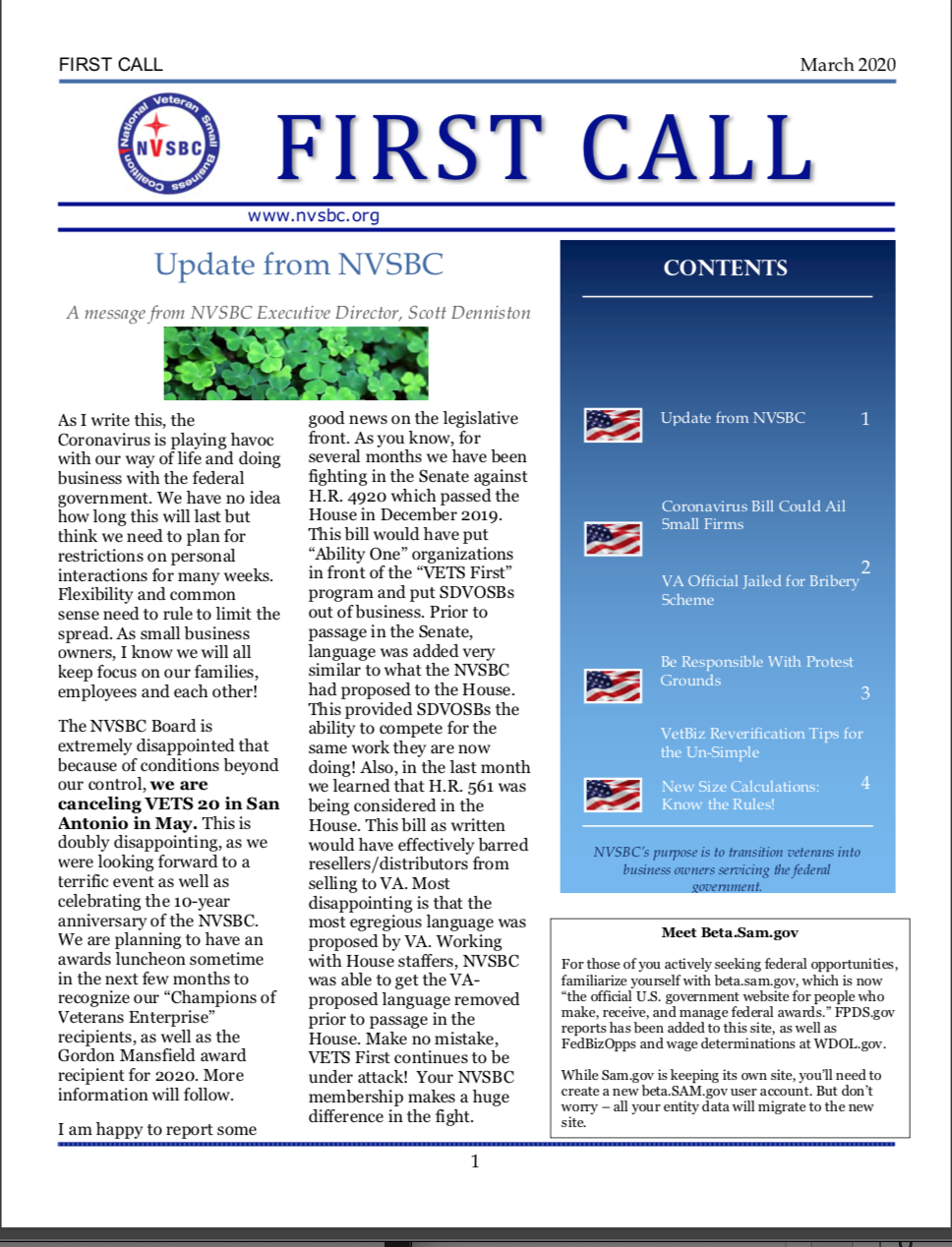 First Call -March 2020