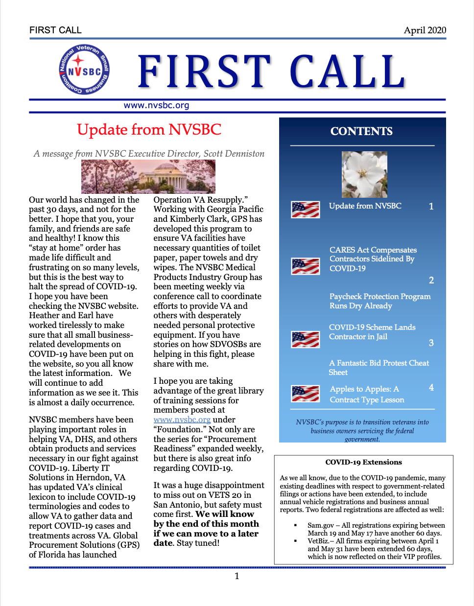 First Call – April 2020