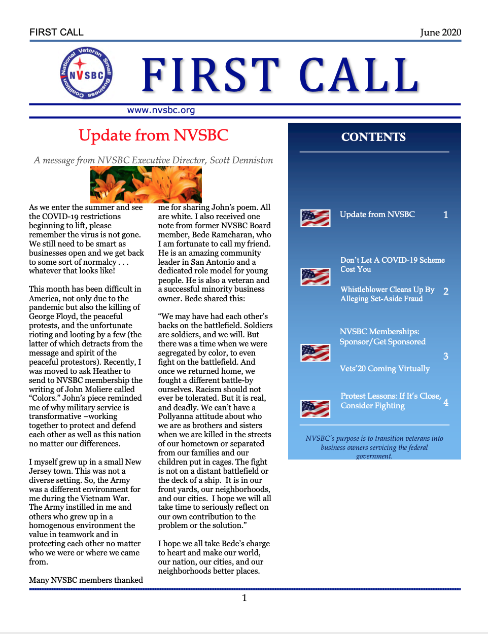 First Call – June 2020