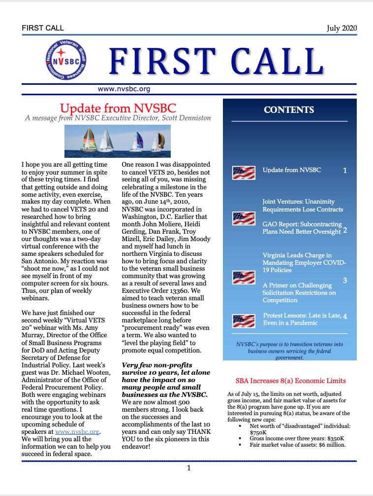 First Call – July 2020