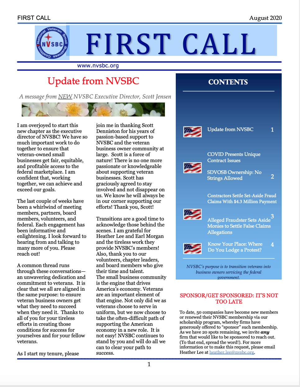 First Call – August 2020