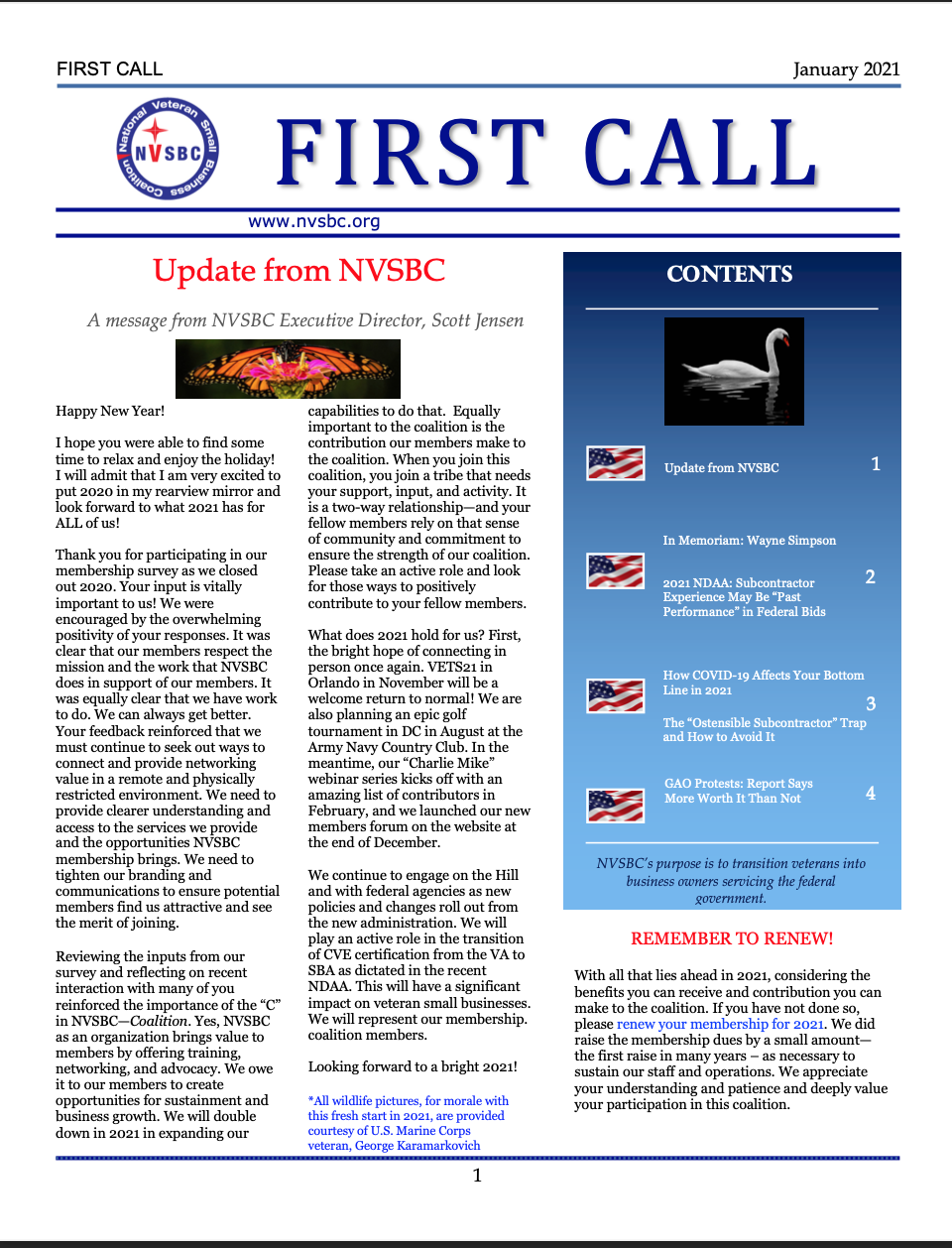 First Call – January 2021