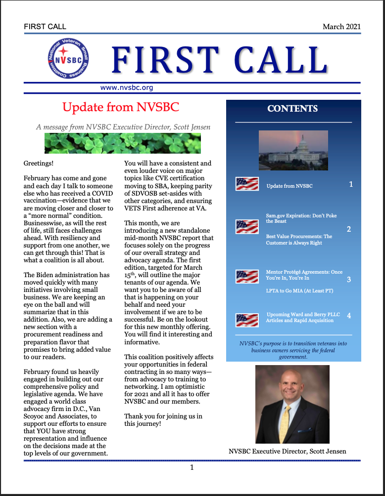 First Call – March 2021